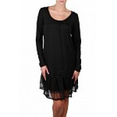 Long Sleeve Lace Trim Slip Dress with Ruffle - Black