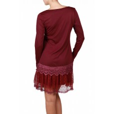 Long Sleeve Lace Trim Slip Dress with Ruffle - Burgundy